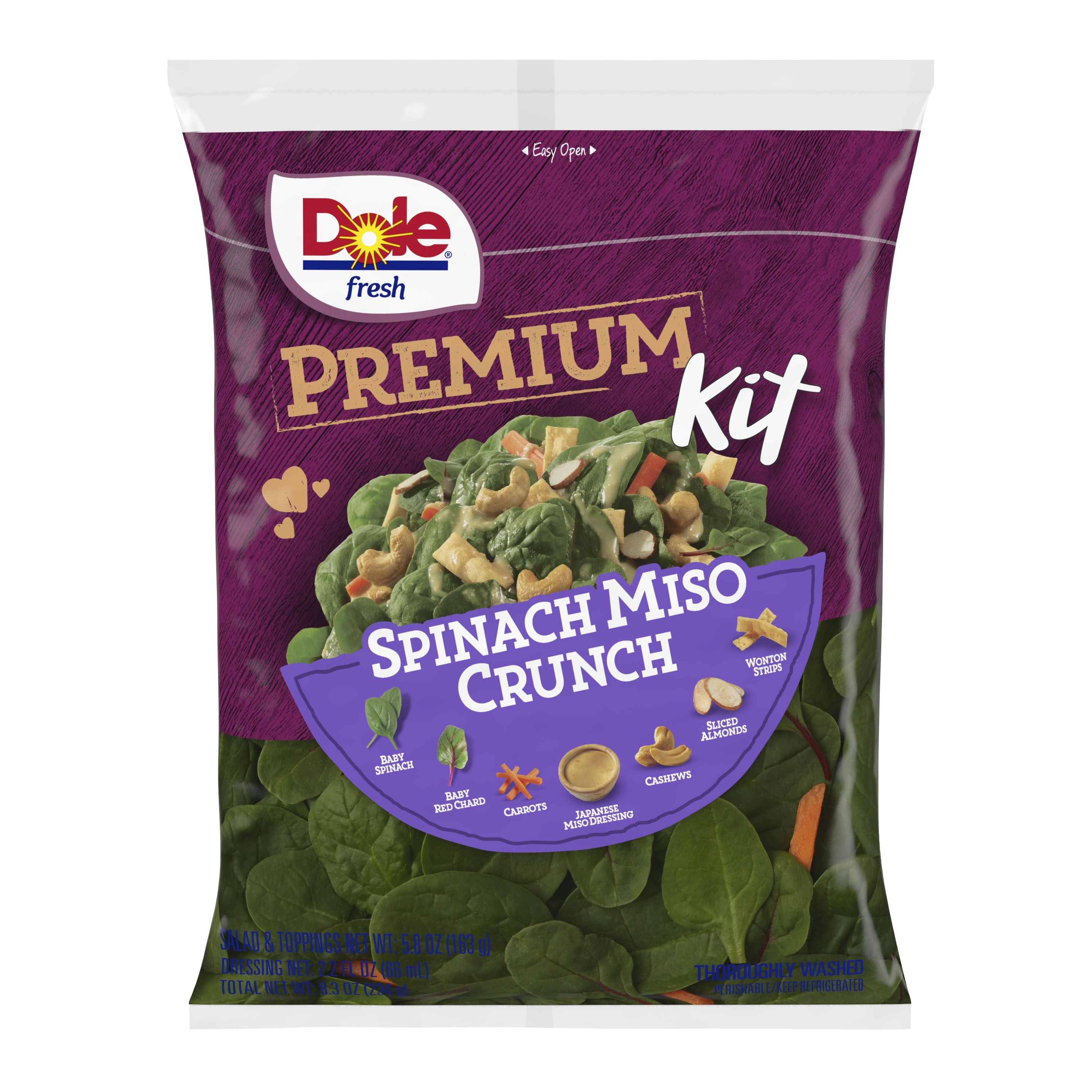 Dole Releases Spinach Miso Crunch Premium Salad Kit