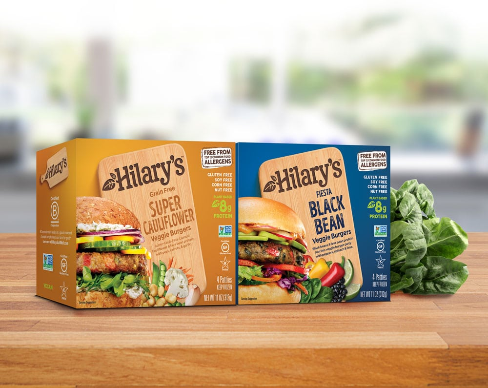 Hilary's Launches Higher Protein Veggie Burgers, New Branding