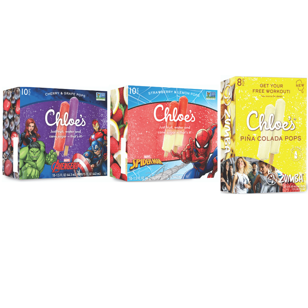 Chloe's Expands Frozen Pop Offerings With Marvel and Zumba Collaborations