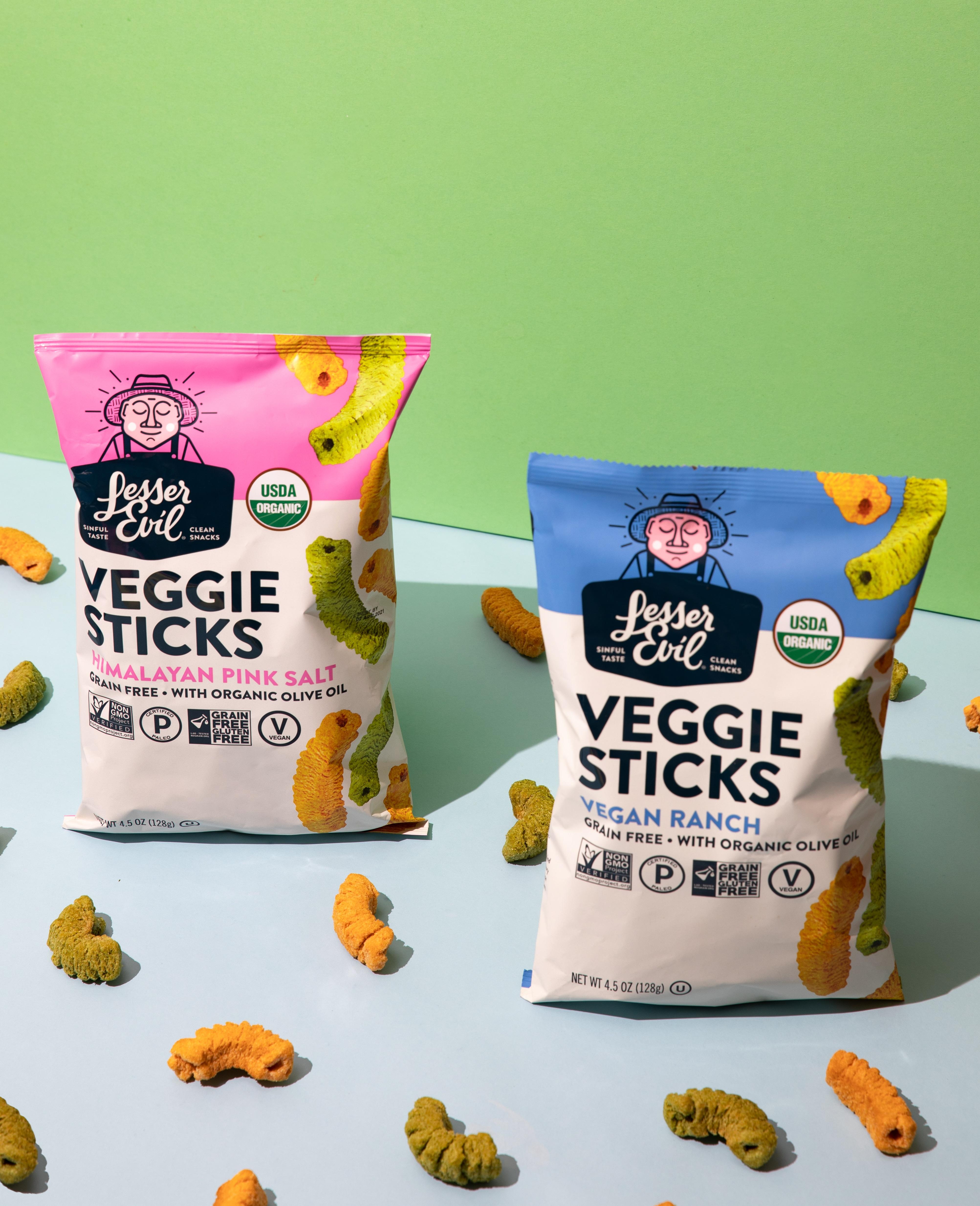 LesserEvil Launches Grain Free Veggie Sticks
